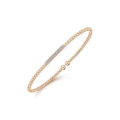 14K Rose Gold Diamond Pave Top Bead Cuff