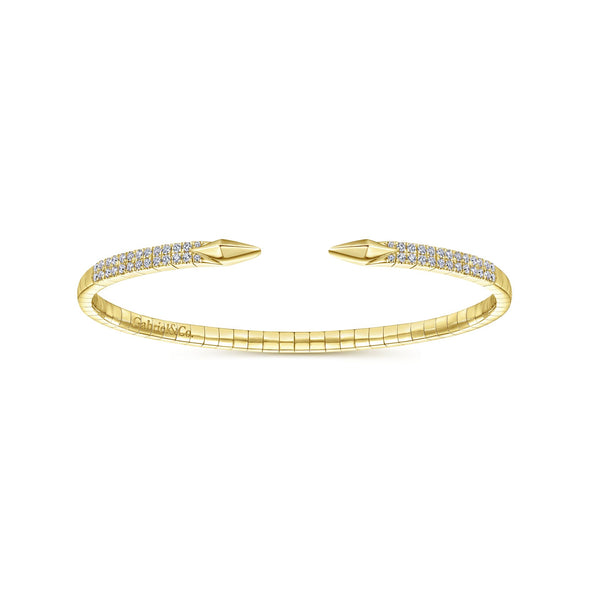 14K Yellow Gold Diamond Arrow-Shaped Open Cuff Bangle Bracelet