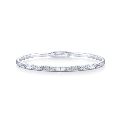 14K White Gold Diamond Pyramid Accent Bangle