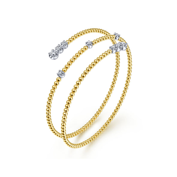 14K Yellow Gold Diamond Beaded Wrap Bracelet