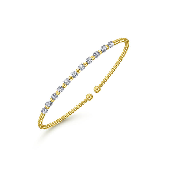 14K White & Yellow Gold Diamond Beaded Open Cuff Bangle