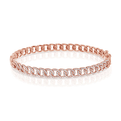 14K Rose Gold Diamond Curb Link Bangle
