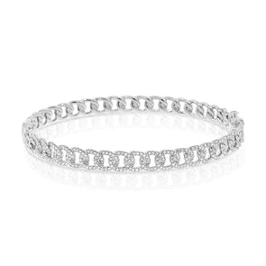 14K White Gold Diamond Curb Link Bangle