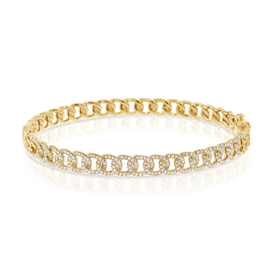 14K Yellow Gold Diamond Curb Link Bangle