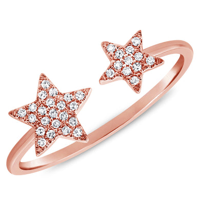 14K Rose Gold Diamond Double Star Open Cuff