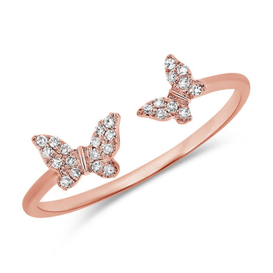 14K Rose Gold Diamond Double Butterfly Open Cuff Ring