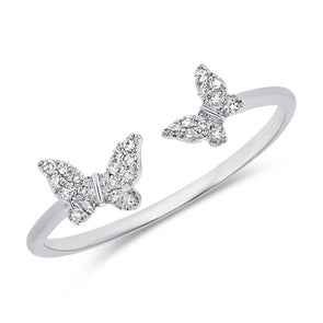 14K White Gold Diamond Double Butterfly Open Cuff Ring