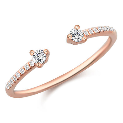 14K Rose Gold Diamond Open Cuff Ring
