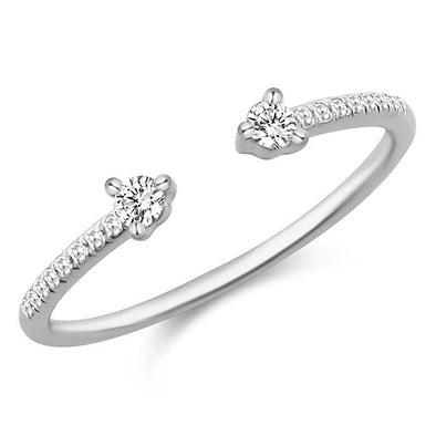 14K White Gold Diamond Open Cuff Ring