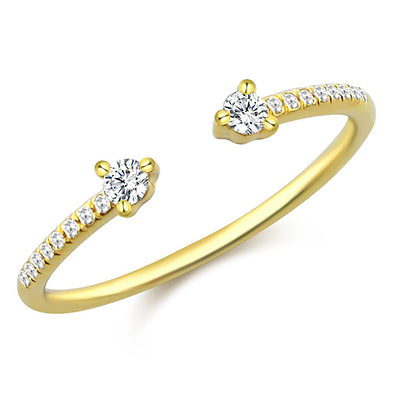 14K Yellow Gold Diamond Open Cuff Ring