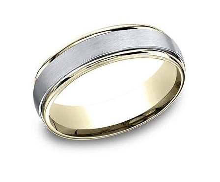 14K Two Tone 6Mm Satin & High Polish Band