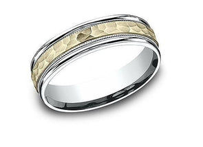 14k Yellow & White Gold Hammered Band