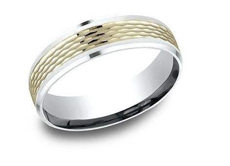 14k Two Tone Mesh & High Polish Band