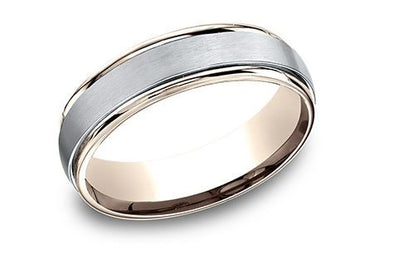 14k Rose & White Gold Satin & High Polish Band