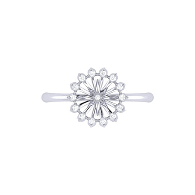 Two-Tone Starburst Ring in Sterling Silver