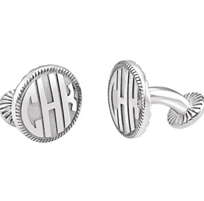 Sterling Silver 3-Letter Block Monogram Cuff Links