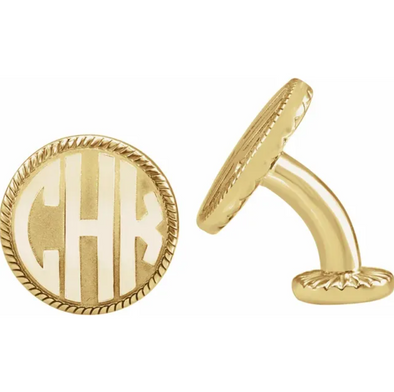 Yellow Gold Plated Sterling Silver 3-Letter Block Monogram Cuff Links