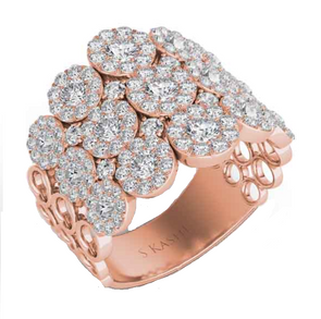 14K Yellow Gold Multi Diamond Halo Fashion Ring