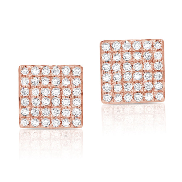 14K Rose Gold Diamond Square Stud Earrings
