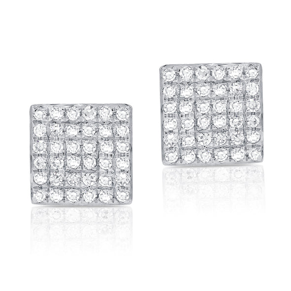 14K White Gold Diamond Square Stud Earrings