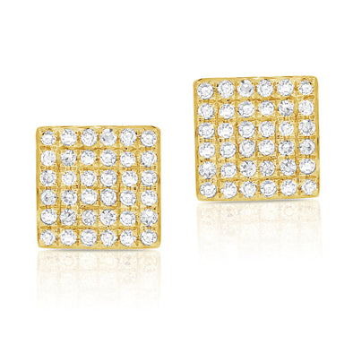 14K Yellow Gold Diamond Square Stud Earrings
