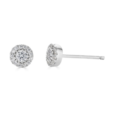 14K .25Ct Diamond Halo Stud Earrings