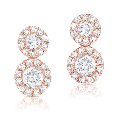 14K Rose Diamond Double Halo Earrings