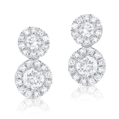 14K White Diamond Double Halo Earrings