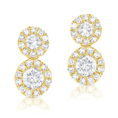 14K Yellow Diamond Double Halo Earrings