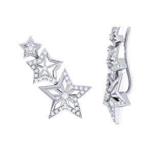 Starburst Ear Climbers in Sterling Silver