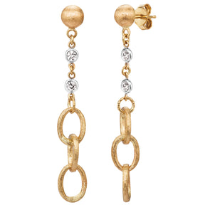 14K Yellow & White Diamond Link Drop Earrings