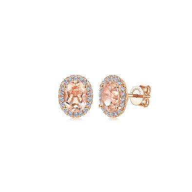 14K Rose Gold Diamond Halo and Oval Morganite Stud Earrings