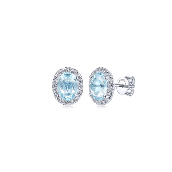 14K White Gold Diamond Halo and Oval Aquamarine Stud Earrings