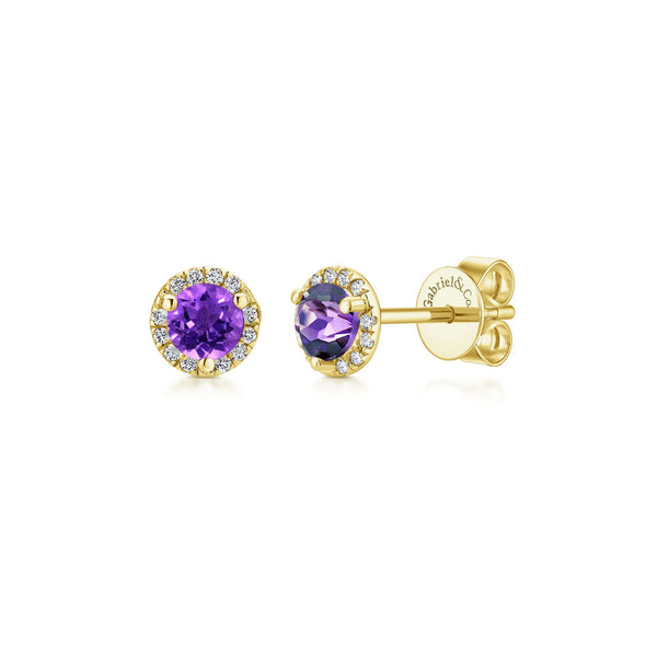 14K Yellow Gold Diamond and Amethyst Stud Earrings