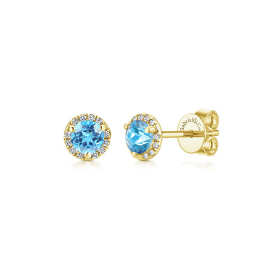 14K Yellow Gold Diamond and Blue Topaz Stud Earrings