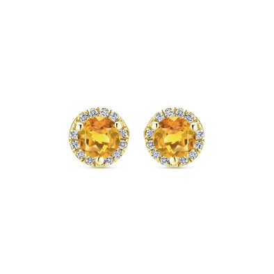 14K Yellow Gold Diamond and Citrine Stud Earrings