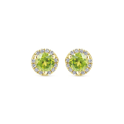 14K Yellow Gold Diamond and Lemon Quartz Stud Earrings
