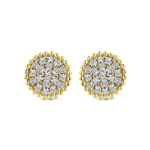 14K Yellow Gold Diamond Cluster Beaded Stud Earrings