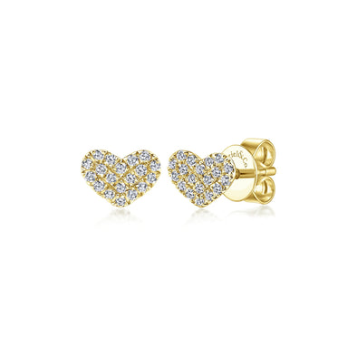14K Yellow Gold Diamond Pave Heart Stud Earrings