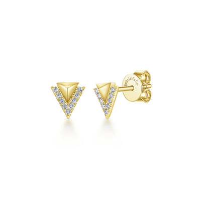 14K Yellow Gold Diamond Pyramid Stud Earrings
