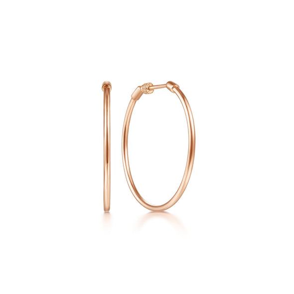 14K Rose Gold 30mm Plain Round Classic Hoops