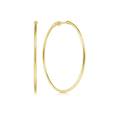 14K Yellow Gold 50mm Plain Round Classic Hoops
