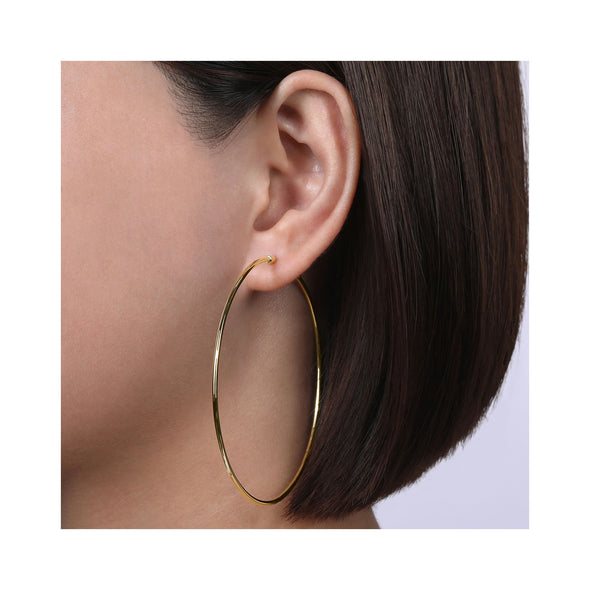 14K Yellow Gold 70mm Plain Round Classic Hoops