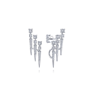 14K White Gold Triple Bar Diamond Earrings