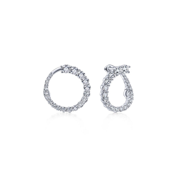 14K White Gold Diamond Small Wrap Circle Earrings