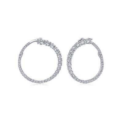 14K White Gold Diamond Large Wrap Circle Earrings