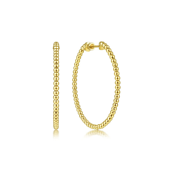 14K Yellow Gold 40mm Beaded Round Hoops