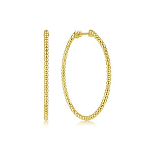 14K Yellow Gold 50mm Beaded Round Hoops