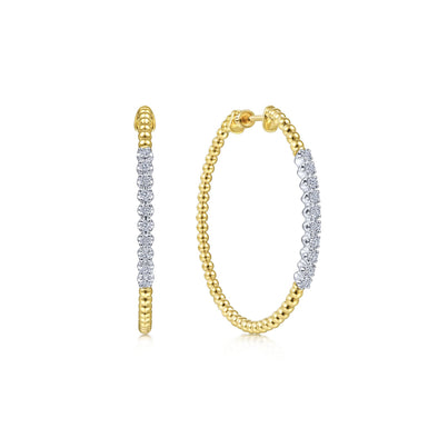 14K White & Yellow Gold Diamond Beaded 40mm Hoop Earrings