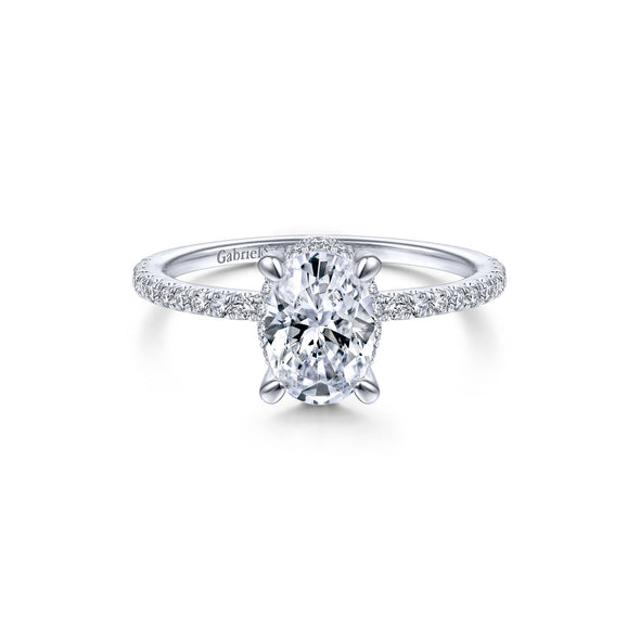 14K White Gold Diamond Oval Halo Mounting